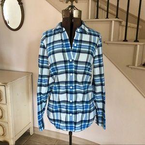 Vineyard Vines Blue Plaid Flannel Button Down Top